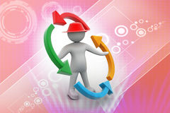 Erson and blank arrows in circle. Recycling. 3d people - man, person and blank arrows in circle. Recycling Stock Image