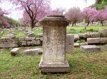 Erstaunliche Ansicht der Ruinen unter blühendem rosa Judas Trees in der archäologischen Fundstätte der alten Olympia Lizenzfreies Stockbild
