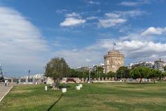 Erstaunliche Ansicht des weißen Turms in der Stadt von Saloniki, Zentralmakedonien, Griechenland Lizenzfreies Stockfoto