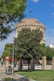 Erstaunliche Ansicht des weißen Turms in der Stadt von Saloniki, Zentralmakedonien, Griechenland Stockbilder