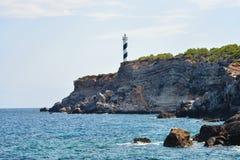 Erstaunliche Ansicht von Faro de Moscarter von Punta Galera Lizenzfreie Stockfotos