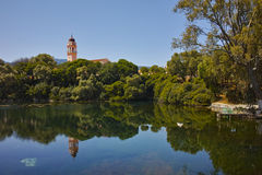 Erstaunliche Ansicht von karavomilos See, Kefalonia Stockbilder