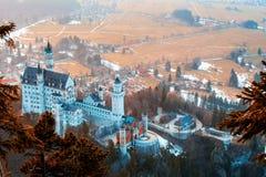 Erstaunliche Ansicht von Neuschwanstein, nahe München, Deutschland lizenzfreie stockfotos