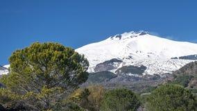 Erstaunliche Ansicht von Volcano Etna von Nicolosi, Catania, Sizilien, Italien lizenzfreies stockbild