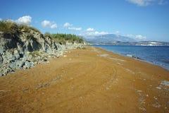 erstaunliche Ansicht XI des Strandes, Strand mit rotem Sand in Kefalonia Stockfoto