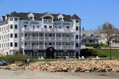 Erstaunliche Architektur des Hotels auf dem Strand, das Verbands-Täuschungs-Hotel, York-Strand, Maine, 2016 Stockbild