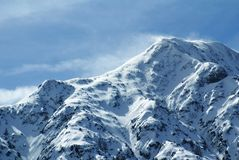 Erstaunliche Bergspitze in den Alpen Stockfoto