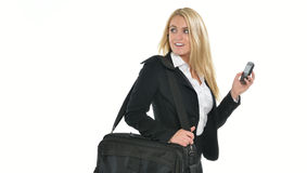 Erstaunliche blonde Geschäftsfrau mit Smartphone Lizenzfreies Stockbild