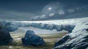 Erstaunliche fantastische unwirkliche Landschaftsanimation ( mit rotem Moon) , Ver 04 vektor abbildung