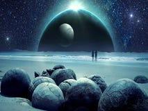 Erstaunliche fantastische unwirkliche Landschaftsanimation ( mit rotem Moon) , Ver 09 lizenzfreie abbildung