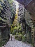 Erstaunliche Felsen und Täler in Teplice, tschechischer Repräsentant Stockfotografie