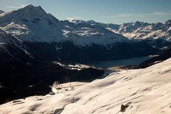 Erstaunliche Gebirgslandschaft von St Moritz, die Schweiz Stockfotografie