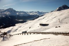 Erstaunliche Gebirgslandschaft von St Moritz, die Schweiz Stockfoto