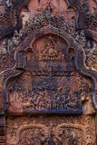 Erstaunliche Giebel in Banteay Srei Lizenzfreies Stockbild