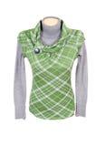 Erstaunliche grüne Weste und graue Strickjacke. Stockfoto