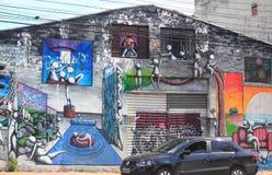 Erstaunliche Graffiti auf einer von Straßen im Sao Paolo, Lizenzfreies Stockbild