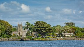 Erstaunliche irische Landschaft entlang dem Durrus-Fluss, Bantry, Grafschafts-Korken, Irland stockfoto