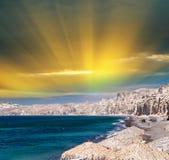 Erstaunliche Küstenfarben von Santorini, Griechenland Lizenzfreies Stockbild