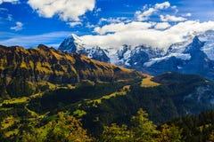 Erstaunliche Landschaft in Murren Lizenzfreies Stockfoto