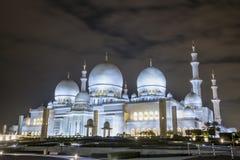 Erstaunliche Moschee Sheikh Zayed Grand Mosque an Sonnenuntergangzeit Abu-AVW Lizenzfreies Stockbild