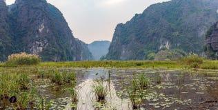 Erstaunliche Panoramaansicht der Reisfelder, der Kalksteinfelsen und der Bergspitze Pagode von Hang Mua Temple-Standpunkt Stockbild