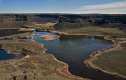 Erstaunliche Schlucht mit Seen - trocknen Sie Fälle, Washington Stockbilder