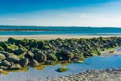 Erstaunliche Seelandschaft mit einer Linie von Felsen und von Meerblick Lizenzfreies Stockfoto