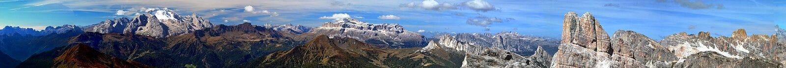 Erstaunlicher Ausblick von Nuvolau-Spitze Stockbild