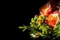 Erstaunlicher Blumenstrauß von Rosen auf Schwarzem Stockfoto