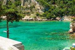 Erstaunlicher grüner Strand Griechenland Korfu Lizenzfreie Stockbilder