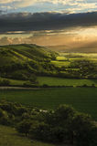 Erstaunlicher Sommersonnenuntergang über Landschaftlandschaft lizenzfreies stockbild