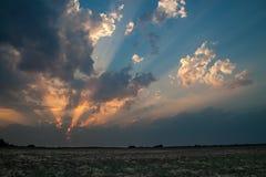 Erstaunlicher Sonnenuntergang mit starken Sonnenstrahlen stockbilder