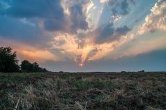 Erstaunlicher Sonnenuntergang mit starken Sonnenstrahlen stockfotografie