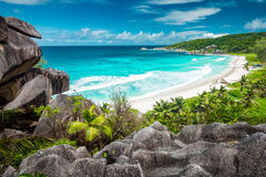 Erstaunlicher Standpunkt auf Seychellen Stockfoto