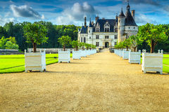 Erstaunliches berühmtes Schloss von Chenonceau, Loire Valley, Frankreich, Europa Lizenzfreie Stockfotografie