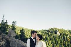 Erstaunliches Hochzeitspaar umarmt sich in den Bergen lizenzfreies stockbild