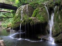 Erstaunliches mosch bedeckte den Wasserfall, der wie eine Glocke geformt wurde stockfotografie