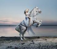 Erstaunliches Porträt der blonden Frau auf dem Pferd Lizenzfreies Stockfoto