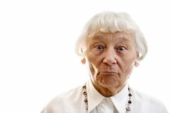 Erstaunte ältere Frau stockfotografie
