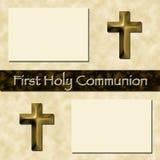 Erste heilige Kommunion-Einklebebuch-Seite Stockfotos