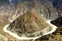 Erste Kurve des Jinsha Flusses Stockbild