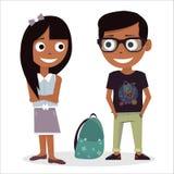 Erste Liebe in der Schule Junge und Mädchen getrennt auf weißem Hintergrund Vektorillustration des Valentinsgrußtages Charaktersc Stockfotos