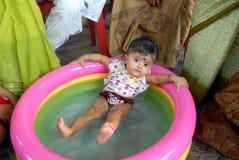 Erste Reis-Essen Zeremonie in Indien Stockfotos