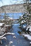 Erste Schneefälle des Winters bei Burke Lake, Virginia lizenzfreies stockbild