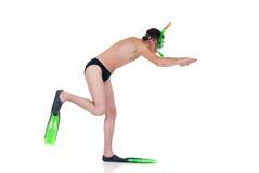Erste Schwimmenlektion Stockfotos