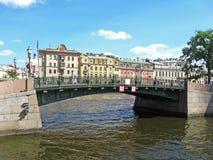 Erste Technikbrücke und Moyka-Fluss, St Petersburg Stockbilder