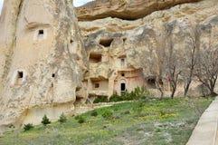 Erste Wohnungen von Einsiedlerchristen in Cappadocia Die Türkei Stockfotografie