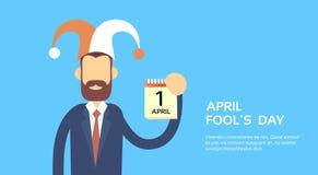 Erster April Fool Day Holiday Banner Kopien-Raum Geschäfts-Abnutzungs-Jester Hat Show Calendar Pages Stockfotografie