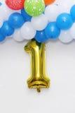 Erster Geburtstag, anniversaey Dekoration Stockfotografie