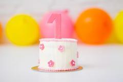 Erster Geburtstag-Kuchen Stockfotografie